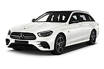 2021 Mercedes Benz E-Class AMG-Line 5 Door Wagon Angular Front automotive stock photos of front three quarter view