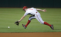 Nebraska Spencer Schwellenbach (1) misses a catch, Saturday, June 5, 2021 during the fourth inning in the second game of the NCAA Fayetteville Regional at Baum-Walker Stadium in Fayetteville. Check out nwaonline.com/210606Daily/ for today's photo gallery. <br /> (NWA Democrat-Gazette/Charlie Kaijo)