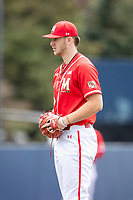 Maryland Terrapins pitcher Sean Burke (18) looks to his catcher for the sign against the Michigan Wolverines on May 23, 2021 in NCAA baseball action at Ray Fisher Stadium in Ann Arbor, Michigan. Maryland beat the Wolverines 7-3. (Andrew Woolley/Four Seam Images)