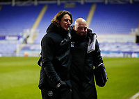 10th February 2021; Madejski Stadium, Reading, Berkshire, England; English Football League Championship Football, Reading versus Brentford; Brentford Manager Thomas Frank celebrates after the final whistle with Brentford assistant head coach Brian Riemer