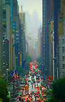 New York, Lexington Avenue on a rainy day, Upper East Side, New York city, Manhattan Island, New York, East Coast, United States, from Hunter College (East 69th street). Note this image is severely, intentionally and delightfully saturated..