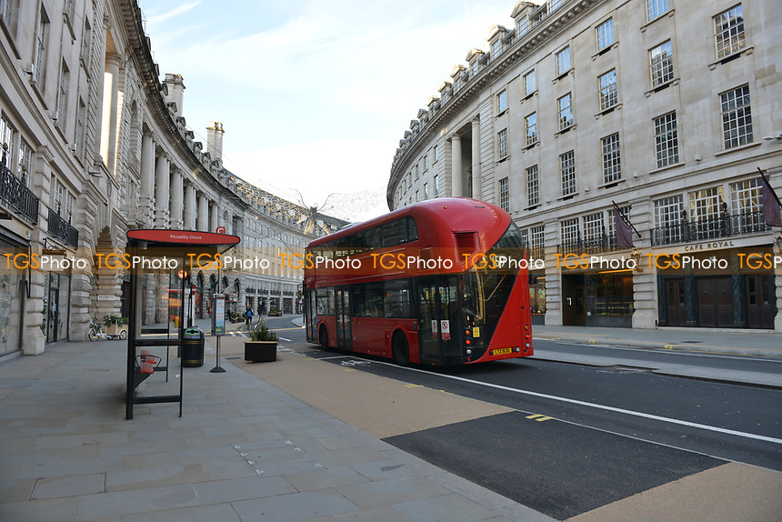 General view of a deserted Regent Street during the ongoing Lockdown restrictions in London on 30th December 2020