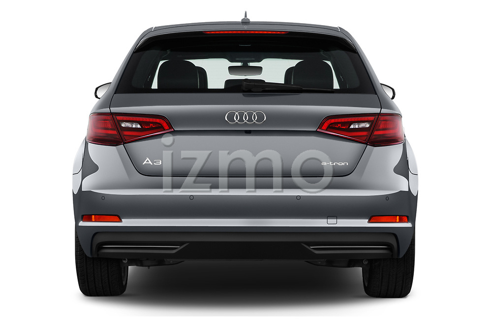 Straight rear view of 2016 Audi A3  Sportback e tron 1.4T S tronic Premium Plus  5 Door Hatchback stock images
