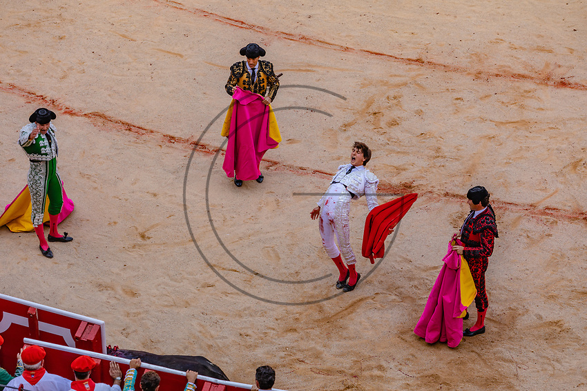 europe,spain,navarra,Pamplona,matador Andrés Roca Rey, the bullfighter , rejoices at the death of the bull