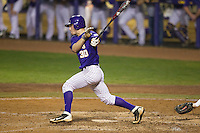 LSU Tigers shortstop Alex Bregman #30 follows through on his swing against the Auburn Tigers in the NCAA baseball game on March 23, 2013 at Alex Box Stadium in Baton Rouge, Louisiana. LSU defeated Auburn 5-1. (Andrew Woolley/Four Seam Images).