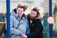 Aberystwyth Wales UK, Thursday 23 Feb 2017<br /> As the  winds from Storm Doris strengthen, pedestrians struggle to walk on the streets of Aberystwyth this morning. <br /> Violent Storm Force 11 winds, with gusts of  of up to 90mph are forecast for parts of North Wales and NorthWest England, with the risk of damage to property and severe disruption to travel<br /> Storm Doris is the fourth named storm of the winter , and has been classified as a 'weather bomb' (explosive cyclogenesis) by the Met Office<br /> <br /> Photo © Keith Morris
