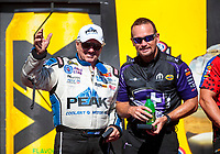 Sep 15, 2019; Mohnton, PA, USA; NHRA funny car driver John Force (left) with driver Jack Beckman during the Reading Nationals at Maple Grove Raceway. Mandatory Credit: Mark J. Rebilas-USA TODAY Sports
