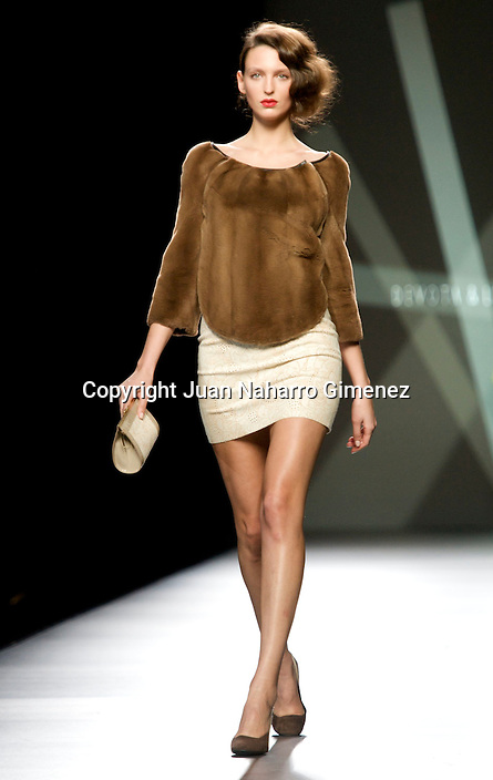 MADRID, SPAIN - FEBRUARY 04: A model walks the runway in the Modesto Lomba fashion show during the Mercedes-Benz Fashion Week Madrid Autumn/Winter 2012 at Ifema on February 4, 2012 in Madrid, Spain. (Photo by Juan Naharro Gimenez)