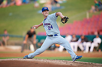 South Bend Cubs starting pitcher Brendan King (24) delivers a pitch during a game against the Kane County Cougars on July 23, 2018 at Northwestern Medicine Field in Geneva, Illinois.  Kane County defeated South Bend 8-5.  (Mike Janes/Four Seam Images)