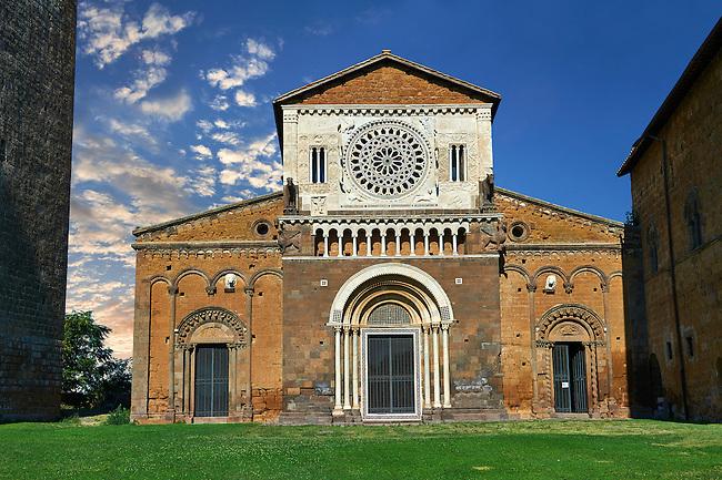 12th century facade of the 8th century Romanesque Basilica church of St Peters, Tuscania, Lazio, Italy