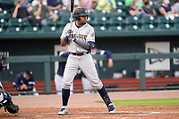 Right fielder Diego Infante (13) of the Charleston RiverDogs in a game against the Columbia Fireflies on Tuesday, May 11, 2021, at Segra Park in Columbia, South Carolina. (Tom Priddy/Four Seam Images)
