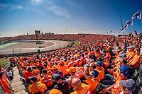 5th September 2021: Circuit Zandvoort, Zandvoort, Netherlands;  Formula 1 Dutch Grand Prix at the CM.com Circuit Zandvoort , Max Verstappen drives past  the stadium of Dutch fans
