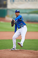 Ogden Raptors starting pitcher Gregorio Sequera (56) delivers a pitch to the plate against the Billings Mustangs at Lindquist Field on August 13, 2017 in Ogden, Utah. The Raptors defeated the Mustangs 6-5.  (Stephen Smith/Four Seam Images)