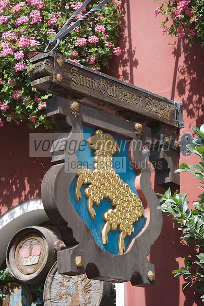 Europe/Allemagne/Bade-Würrtemberg/Heidelberg: détail enseigne de restautrant sur la Hauptstrasse rue principale