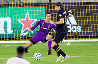 LOS ANGELES, CA - SEPTEMBER 23: Pablo Sisniega #23 GK of LAFC and team mate Dejan Jakovic #5 defending in the box during a game between Vancouver Whitecaps and Los Angeles FC at Banc of California Stadium on September 23, 2020 in Los Angeles, California.