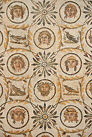 Picture of a Roman Dionysiac mosaics design depicting masks and birds, from the ancient Roman city of Thysdrus. 3rd century AD, House of Silenus. El Djem Archaeological Museum, El Djem, Tunisia.