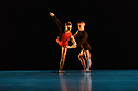 """London, UK. 23.03.2018. Richard Alston Dance Company presents the premiere of """"Mid Century Modern"""", at Sadler's Wells. Richard Alston choreographed his very first dance in 1968. 50 years later Mid Century Modern celebrates this landmark with new and old work from Alston, a celebration of a half century of making dances. The programme also features London premieres of Carnaval by Alston and Cut and Run by Martin Lawrance.<br />  <br /> For Mid Century Modern Alston has chosen featuring short sections from Rainbow Bandit, Nowhere Slowly, Gypsy Mixture, Proverb, Syrinx, Dutiful Ducks and Signal of a Shake. BBC Young Dancer 2015 finalist Vidya Patel (who joined the Company as a guest dancer for An Italian in Madrid in 2016) features in Syrinx to represent the current decade. RADC dancer Liam Riddick (Best Male Dancer Award, Critics Circle National Dance Awards 2017) will dance the solo Dutiful Ducks. Picture shows: Nicholas Shikkis, Liam Riddick in an extract from """"Proverb"""" (2006).  Photograph © Jane Hobson."""
