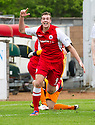 Stirling's Jordan White (9) celebrates after he thought he'd scores their third goal, however the ball had deflected off team mate Ross Forsyth who was credited with the goal.