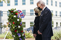 United States President Joe Biden and first lady Dr. Jill Biden attend a wreath laying ceremony at National 9/11 Memorial at the Pentagon in Washington on September 11, 2021.<br /> CAP/MPI/RS<br /> ©RS/MPI/Capital Pictures