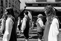 Switzerland. Geneva. A choir stands in the street on Music Day. A choir (also known as a quire, chorale or chorus) is a musical ensemble of singers. Choral music, in turn, is the music written specifically for such an ensemble to perform. Choirs may perform music from the classical music repertoire, which spans from the medieval era to the present, or popular music repertoire. Most choirs are led by a conductor, who leads the performances with arm and face gestures. The Fête de la Musique, also known in English as Music Day, Make Music Day or World Music Day, is an annual music celebration that takes place on 21 June ( but usually during the previous or following weekend). On Music Day the citizens of a city or country are allowed and urged to play music outside in their neighborhoods or in public spaces and parks. Free concerts are also organized, where musicians play for fun and not for payment. 22.06.1993 © 1993 Didier Ruef