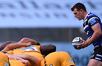 31st August 2020; Recreation Ground, Bath, Somerset, England; English Premiership Rugby, Ben Spencer of Bath prepares to feed the ball into the scrum