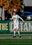 26 October 2019: University of Vermont Catamount Defender Noah Egan, a Freshman from Irvine, CA, in second half action against the University of Massachusetts Lowell River Hawks at Virtue Field in Burlington, Vermont. The Catamounts rallied to defeat the River Hawks 2-1, propelling the Cats to the America East Division 1 conference playoffs. Mandatory Credit: Ed Wolfstein Photo *** RAW (NEF) Image File Available ***