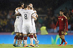 Germany's players celebrate goal in presence of Spain's Isco during international friendly match.November 18,2014. (ALTERPHOTOS/Acero)