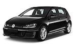2014 Volkswagen GOLF GTD 5 Door Hatchback Angular Front stock photos of front three quarter view