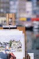 Europe/France/Normandie/Basse-Normandie/14/Calvados/Honfleur: Le port - Peintre sur le vieux bassin - Les peintres de Honfleur