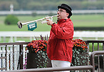 09 October 03: Sam the Bugler calls the horses to the post before Music Note wins the 70th running of the grade 1 Beldame Stakes for fillies and mares three years old and upward at Belmont Park in Elmont, New York.
