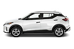 Car Driver side profile view of a 2021 Nissan Kicks - 5 Door SUV Side View