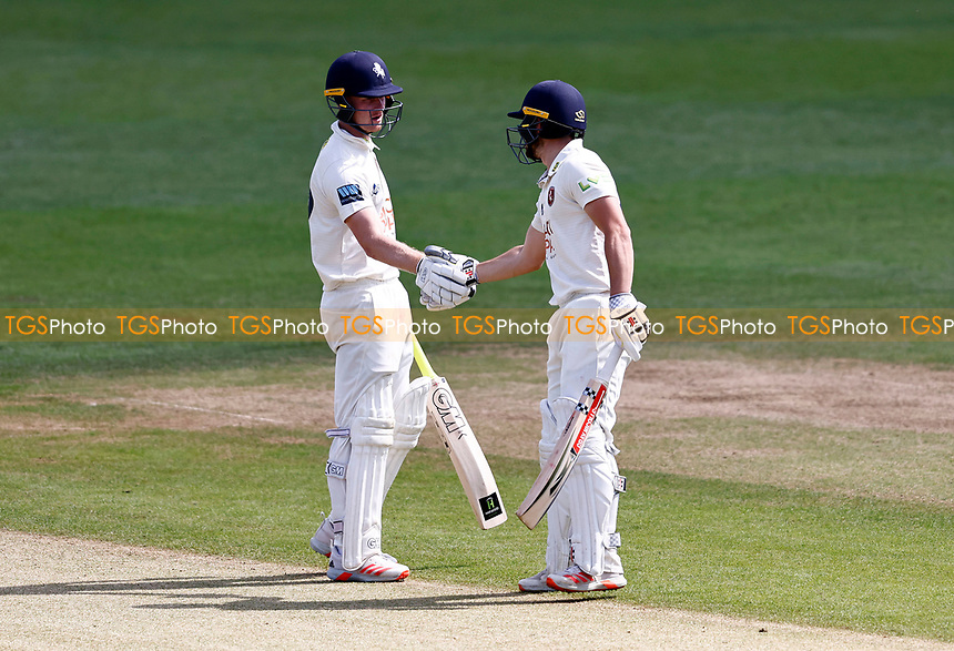 Jordan Cox congratulates Ollie Robinson (R) on his fifty for Kent during Kent CCC vs Northamptonshire CCC, LV Insurance County Championship Group 3 Cricket at The Spitfire Ground on 5th June 2021