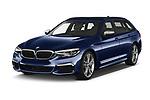 2019 BMW 5-Series - 5 Door Wagon Angular Front automotive stock photos of front three quarter view