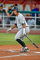 Steven Leonard (6) of the Grand Junction Rockies at bat against the Orem Owlz in Pioneer League action at Home of the Owlz on July 6, 2016 in Orem, Utah. The Rockies defeated the Owlz 5-4 in Game 2 of the double header.  (Stephen Smith/Four Seam Images)