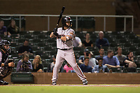 Scottsdale Scorpions second baseman C.J. Hinojosa (8), of the San Francisco Giants organization, at bat in front of catcher Daulton Varsho (8) during an Arizona Fall League game against the Salt River Rafters at Salt River Fields at Talking Stick on October 11, 2018 in Scottsdale, Arizona. Salt River defeated Scottsdale 7-6. (Zachary Lucy/Four Seam Images)