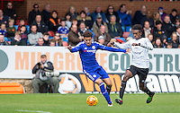 Yasin Ben El-Mhanni of Chelsea U21 holds off Beni Baningime of Everton U21 during the Barclays U21 Premier League match between Chelsea and Everton at the EBB Stadium, Aldershot, England on 2 May 2016. Photo by Andy Rowland.