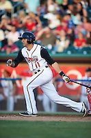 Lansing Lugnuts third baseman Jason Leblebijian (11) at bat during a game against the Peoria Chiefs on June 6, 2015 at Cooley Law School Stadium in Lansing, Michigan.  Lansing defeated Peoria 6-2.  (Mike Janes/Four Seam Images)