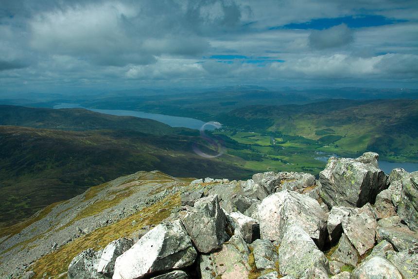 Kinloch Rannoch and Loch Rannoch from the summit of Schiehallion, Perthshire