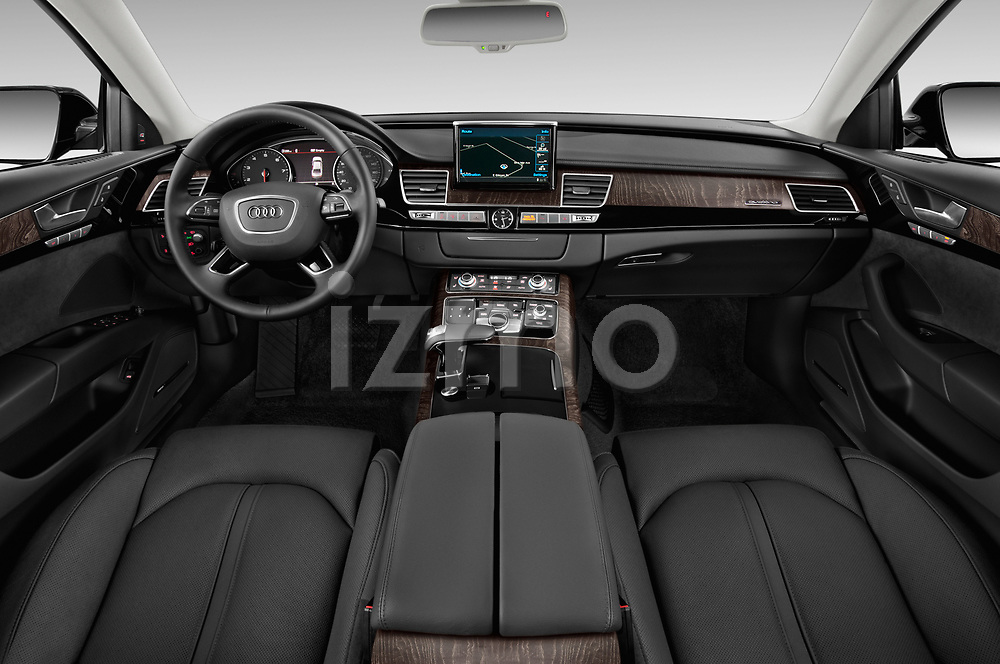 Stock photo of straight dashboard view of 2015 Audi A8 4.0T NWB quattro Tiptronic 5 Door Sedan