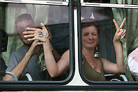 Moscow, Russia, 31/05/2010..Arrested demonstrators inside a police van as police break up an opposition protest in central Moscow and arrest around 170 people. Opposition activists hold regular demonstrations on the 31st day of the month, protesting against restrictions on the freedom of assembly, which is protected by article number 31 of the Russian constitution.