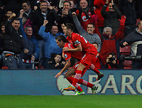 Saturday 10 November 2012<br /> Pictured L-R: Morgan Schneiderlin of Southampton celebrating his opening goal with fellow player Adam Lallana to the delight of home supporters <br /> Re: Barclay's Premier League, Southampton FC v Swansea City FC at St Mary's Stadium, Southampton, UK.