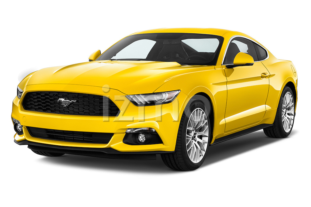 2016 Ford Mustang EcoBoost 2 Door Coupe Angular Front stock photos of front three quarter view