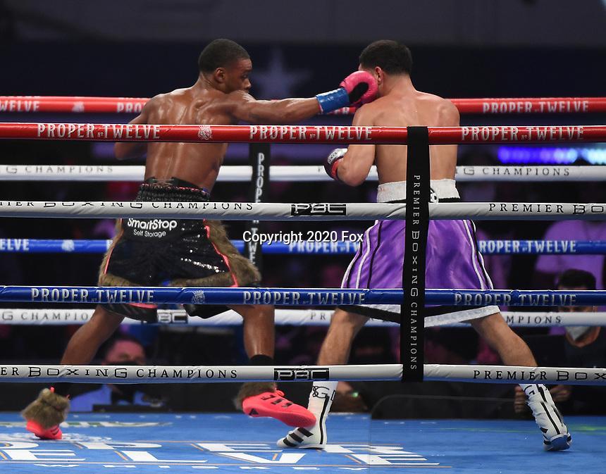 ARLINGTON, TX - DECEMBER 5: Errol Spence Jr. and Danny Garcia during their fight on Fox Sports PBC Pay-Per-View fight night at AT&T Stadium in Arlington, Texas on December 5, 2020. (Photo by Frank Micelotta/Fox Sports)
