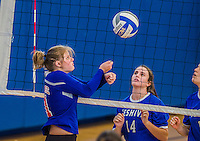 27 October 2013: Purchase College Panthers Outside Hitter Sarah Gabler, a Freshman from East Concord, NY, in action during a Skyline Conference game against the Yeshiva University Maccabees at the College of Mount Saint Vincent in Riverdale, NY. The Panthers defeated the Maccabees 3-0 in NCAA women's volleyball play. Mandatory Credit: Ed Wolfstein Photo *** RAW (NEF) Image File Available ***