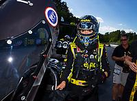 May 6, 2018; Commerce, GA, USA; NHRA top fuel driver Leah Pritchett after winning the Southern Nationals at Atlanta Dragway. Mandatory Credit: Mark J. Rebilas-USA TODAY Sports