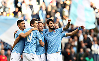 Football, Serie A: S.S. Lazio - Udinese Olympic stadium, Rome, December 1, 2019. <br /> Lazio's Ciro Immobile (second from right) celebrates after scorig with his teammates during the Italian Serie A football match between S.S. Lazio and Udinese at Rome's Olympic stadium, Rome on December 1, 2019.<br /> UPDATE IMAGES PRESS/Isabella Bonotto