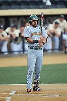 Raymond Gil (16) of the Miami Hurricanes at bat against the Wake Forest Demon Deacons at David F. Couch Ballpark on May 11, 2019 in  Winston-Salem, North Carolina. The Hurricanes defeated the Demon Deacons 8-4. (Brian Westerholt/Four Seam Images)