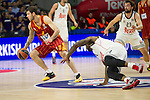 Real Madrid´s Kevin Rivers and Galatasaray´s Micov during 2014-15 Euroleague Basketball match between Real Madrid and Galatasaray at Palacio de los Deportes stadium in Madrid, Spain. January 08, 2015. (ALTERPHOTOS/Luis Fernandez)