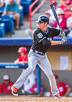 7 March 2016: Miami Marlins infielder J.T. Riddle in action during a Spring Training pre-season game against the Washington Nationals at Space Coast Stadium in Viera, Florida. The Nationals defeated the Marlins 7-4 in Grapefruit League play. Mandatory Credit: Ed Wolfstein Photo *** RAW (NEF) Image File Available ***
