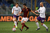 Calcio, Serie A: Roma vs Fiorentina. Roma, stadio Olimpico, 4 marzo 2016.<br /> Roma's Miralem Pjanic, left, is challenged by Fiorentina's Borja Valero during the Italian Serie A football match between Roma and Fiorentina at Rome's Olympic stadium, 4 March 2016.<br /> UPDATE IMAGES PRESS/Riccardo De Luca